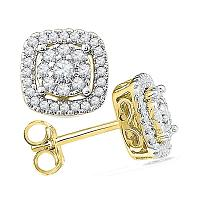 10kt Yellow Gold Womens Round Diamond Framed Square Cluster Screwback Earrings 1/2 Cttw