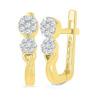 10kt Yellow Gold Womens Round Diamond Flower Cluster Hoop Earrings 1/5 Cttw
