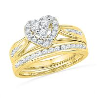 10kt Yellow Gold Womens Round Diamond Heart Bridal Wedding Engagement Ring Band Set 1/2 Cttw