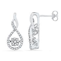 10kt White Gold Womens Round Diamond Moving Cluster Earrings 1/3 Cttw