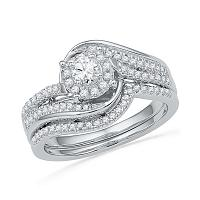 10k White Gold Womens Round Diamond Halo Bridal Wedding Engagement Ring Band Set 1/2 Cttw
