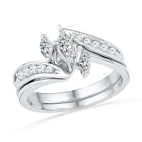 10kt White Gold Womens Marquise Diamond 3-Stone Bridal Wedding Engagement Ring Band Set 1/2 Cttw
