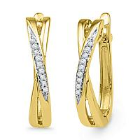 10kt Yellow Gold Womens Round Diamond Slender Crossover Hoop Earrings 1/20 Cttw