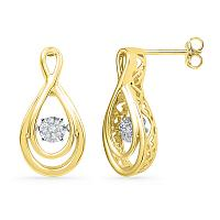 10kt Yellow Gold Womens Round Diamond Moving Twinkle Cluster Teardrop Stud Earrings 1/20 Cttw