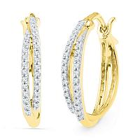 10kt Yellow Gold Womens Round Diamond Double Row Hoop Earrings 1/4 Cttw