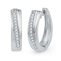 10kt White Gold Womens Round Diamond Single Row Hoop Earrings 1/6 Cttw