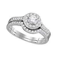 14kt White Gold Womens Diamond Round Halo Bridal Wedding Engagement Ring Band Set 1/2 Cttw