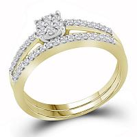10kt Yellow Gold Womens Round Diamond Slender Cluster Bridal Wedding Engagement Ring Band Set 1/3 Cttw