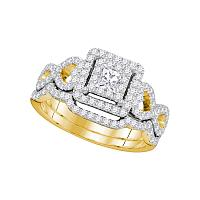 14kt Yellow Gold Womens Princess Diamond Woven Bridal Wedding Engagement Ring Band Set 7/8 Cttw