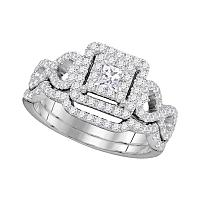 14kt White Gold Womens Princess Diamond Woven Bridal Wedding Engagement Ring Band Set 7/8 Cttw
