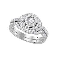 14kt White Gold Womens Diamond Round Bridal Wedding Engagement Ring Band Set 5/8 Cttw