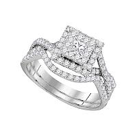 14kt White Gold Womens Princess Diamond Bridal Wedding Engagement Ring Band Set 7/8 Cttw