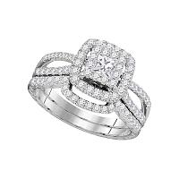 14K White Gold Womens Princess Diamond Bridal Wedding Engagement Ring Band Set 1.00 Cttw