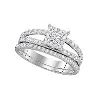 14kt White Gold Womens Diamond Princess Bridal Wedding Engagement Ring Band Set 1.00 Cttw