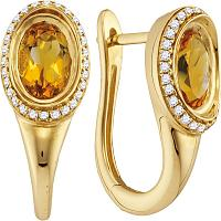 14kt Yellow Gold Womens Oval Natural Citrine Diamond Hoop Earrings 1/5 Cttw