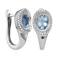 14kt White Gold Womens Oval Aquamarine Solitaire Diamond Frame Hoop Earrings 7/8 Cttw