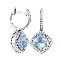 14kt White Gold Womens Cushion Natural Aquamarine Diamond Dangle Earrings 4-3/8 Cttw