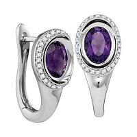 14kt White Gold Womens Oval Natural Amethyst Diamond Hoop Earrings 1/4 Cttw