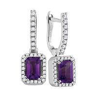 14kt White Gold Womens Cushion Amethyst Solitaire Diamond Frame Hoop Dangle Earrings 1/3 Cttw