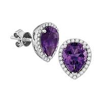 14kt White Gold Womens Pear Amethyst Solitaire Diamond Frame Stud Earrings 1-1/2 Cttw