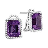 14kt White Gold Womens Emerald Amethyst Stud Diamond Accent Earrings 2-3/4 Cttw
