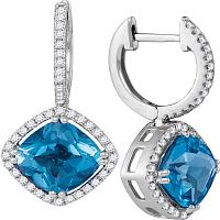 14kt White Gold Womens Cushion Natural Blue Topaz Diamond Dangle Earrings 5-1/2 Cttw