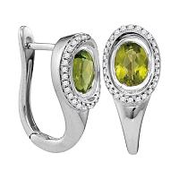 14kt White Gold Womens Oval Natural Peridot Diamond Hoop Earrings 2.00 Cttw