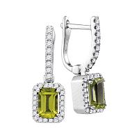 14kt White Gold Womens Natural Emerald Peridot Diamond Dangle Earrings 1-5/8 Cttw