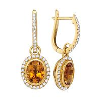 14kt Yellow Gold Womens Oval Citrine Diamond Frame Dangle Hoop Earrings 1-3/8 Cttw
