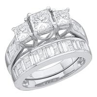 14kt White Gold Womens Princess 3-Stone Diamond Bridal Wedding Engagement Ring Band Set 2-1/2 Cttw