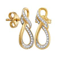 10kt Yellow Gold Womens Round Diamond Infinity Screwback Earrings 1/6 Cttw
