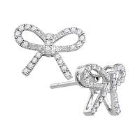 10kt White Gold Womens Round Diamond Bow-tie Ribbon Know Screwback Stud Earrings 1/5 Cttw
