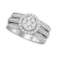 14kt White Gold Womens Round Diamond Cluster Bridal Wedding Engagement Ring Band Set 1.00 Cttw