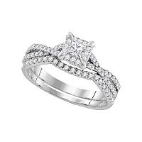 10kt White Gold Womens Round Diamond Square Halo Bridal Wedding Engagement Ring Band Set 5/8 Cttw (Certified)