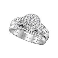 10k White Gold Womens Round Diamond Halo Bridal Wedding Engagement Ring Band Set 3/8 Cttw
