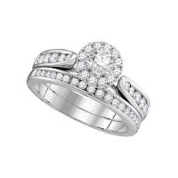 14kt White Gold Womens Diamond Round Halo Bridal Wedding Engagement Ring Band Set 1.00 Cttw