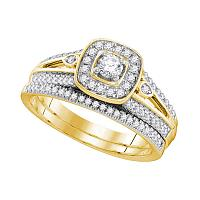 10k Yellow Gold Womens Round Diamond Bridal Wedding Engagement Ring Band Set 1/2 Cttw