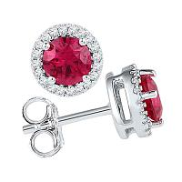 10kt White Gold Womens Round Lab-Created Ruby Solitaire Stud Earrings 1-1/3 Cttw