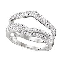 14kt White Gold Womens Round Diamond Chevron Wrap Ring Guard Enhancer Wedding Band 1/2 Cttw