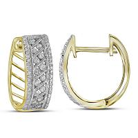 10kt Yellow Gold Womens Round Channel-set Diamond Hoop Earrings 5/8 Cttw