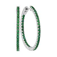 14kt White Gold Womens Round Emerald Hoop Earrings 2.00 Cttw