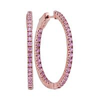 14kt Rose Gold Womens Round Pink Sapphire Hoop Earrings 2-3/4 Cttw