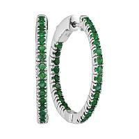 14kt White Gold Womens Round Natural Emerald Hoop Earrings 1-1/4 Cttw