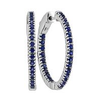 14kt White Gold Womens Round Blue Sapphire Inside Outside Hoop Earrings 1-1/2 Cttw