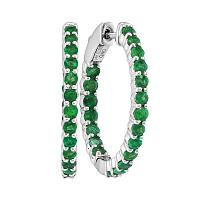 14kt White Gold Womens Round Emerald Inside Outside Hoop Earrings 2.00 Cttw