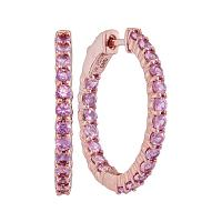 14kt Rose Gold Womens Round Pink Sapphire Inside Outside Hoop Earrings 2-1/4 Cttw