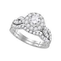 14kt White Gold Womens Round Diamond Bridal Wedding Engagement Ring Band Set 1-3/4 Cttw