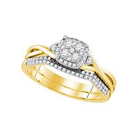 14k Yellow Gold Womens Round Diamond Cluster Bridal Wedding Engagement Ring Band Set 3/8 Cttw
