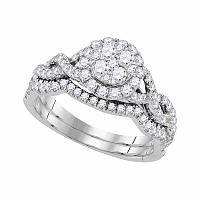 14kt White Gold Womens Diamond Cluster Bridal Wedding Engagement Ring Band Set 7/8 Cttw
