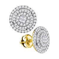 14kt Yellow Gold Womens Princess Round Diamond Concentric Soleil Cluster Screwback Earrings 1/2 Cttw